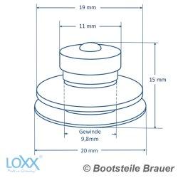 LOXX Oberteil kleine Griffkappe - Messing schwarz verchromt