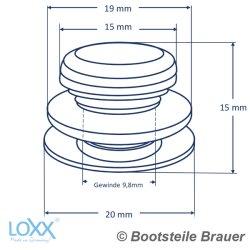 LOXX Oberteil glatte Griffkappe - Messing Vernickelt