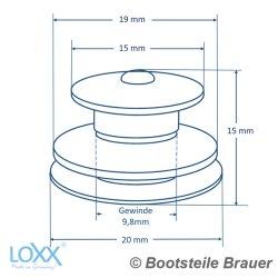 LOXX Oberteil große Griffkappe - Messing blank